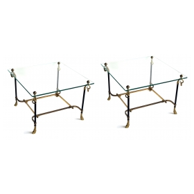 a good pair of french mid-century black tole and gilt-bronze square side tables with glass tops