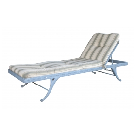 a stylish american mid-century regency style gray painted aluminum garden lounge chair by brown jordan