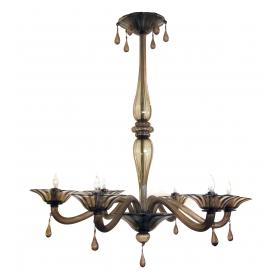 an elegant murano 1930's napoleone martinuzzi for venini 6-light chandelier of charcoal-brown glass
