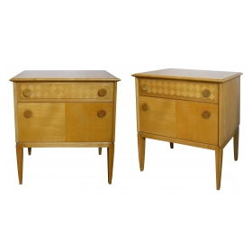 a sleek and good quality pair of french 1960's sycamore 2-drawer bedside cabinets/commodes