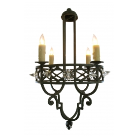 a well-crafted spanish dark-green painted hand wrought-iron openwork 4-light chandelier