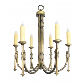 a handsome and large-scaled english neogothic brass 6-light chandelier
