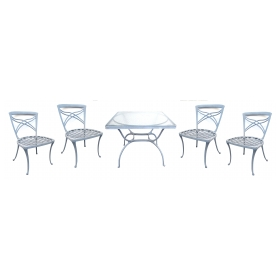 a stylish american 1960's five piece aluminum patio set with square glass-top table and 4 side chairs; by brown jordan