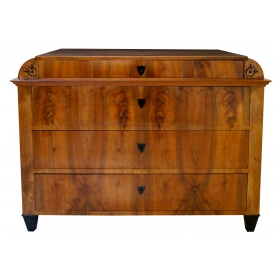 a handsome austrian biedermeier walnut 4-drawer chest with inlaid decoration