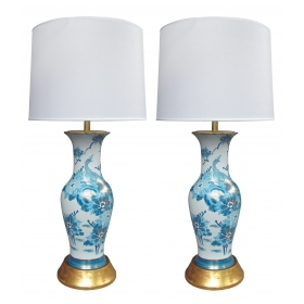 an elegant pair of chinese blue and white painted baluster-form vases now mounted as lamps