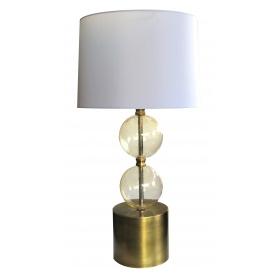 a striking murano mid-century lamp of stacked gold orbs