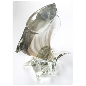 a large-scaled murano mid-century clear art glass sculpture of a leaping fish