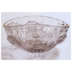 a shimmering and good quality murano mid-century oblong amethyst-colored art glass bowl