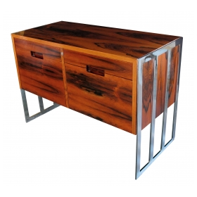 a chic danish 1970's jacaranda wood 2-drawer cabinet with chrome supports