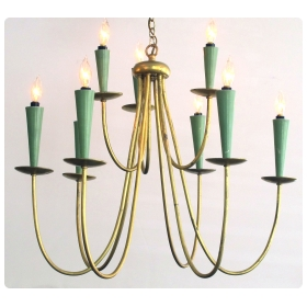 a chic italian gilt metal and painted 9-arm chandelier