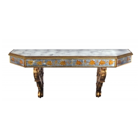 chic french Maison Jansen 1940's giltwood and églomisé wall console