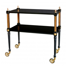 a stylish french 1940's regency style ebonized and bronze mounted drinks cart in the manner of maison jansen, paris