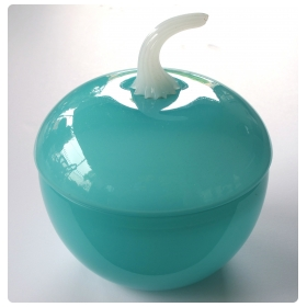 a charming french mid-century aqua-colored opaline glass covered bowl