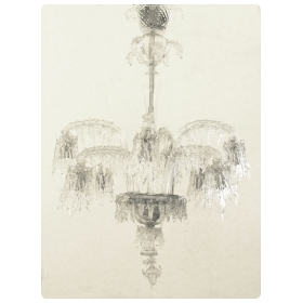 a fanciful italian mid-century clear 'icicle' glass 6-arm chandelier