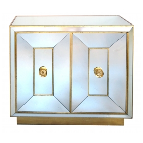 a glamorous american hollywood regency 1940's mirrored 2-door cabinet with gilt highlights