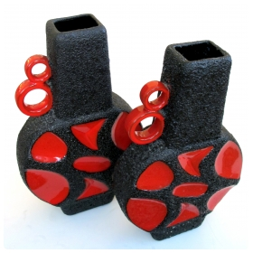 a striking pair of west german roth keramik art pottery 'fat lava' urns with red glaze