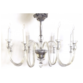 elegant and chic murano mid-century modern 8-light clear glass chandelier