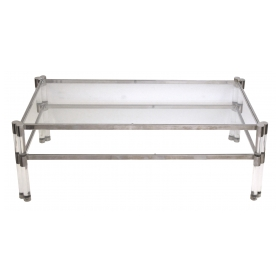 stylish french 1970's Pierre Vandel glass and lucjite coffee table with nickel plated frame