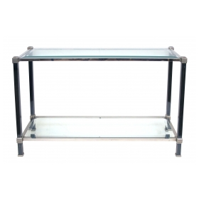 a tailored french 1970's 2-toned steel console table with beveled glass top and lower shelf