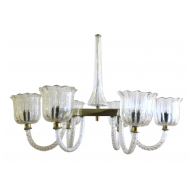 a good quality murano barovier and toso 1950's clear bullicante glass oblong-form 6-light chandelier