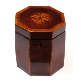 a shapely english georgian octagonal lidded tea caddy with shell inlay