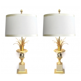 pair of french 1960's maison charles two-tone brass and steel urn-form lamps epoca san francisco