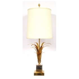 a stylish french maison charles style 1970's gilt-metal and chrome palm-frond lamp