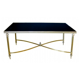 a good quality and stylish french 1960's maison jansen rectangular brass cocktail/coffee table with black glass top