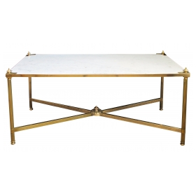 an elegant french maison jansen mid-century neo-classical style brass coffee/cocktail table with carrera marble top