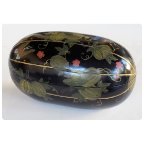 a delightful japanese black lacquered gourd-form box