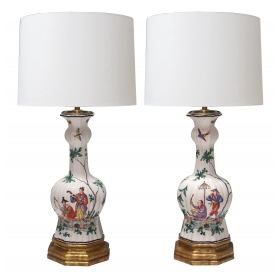 a good pair of french moustiers faience chinoiserie style polychromed knobble vases now mounted as lamps