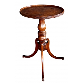 a handsome and well-patinated english victorian beechwood circular tripod side table with baluster support and splayed legs