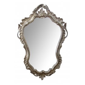 shapely and elegant venetian rococo style silver-leafed giltwood cartouche-shaped mirror