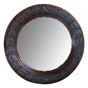 a well-carved english victorian convex mirror with laurel-leaf frame