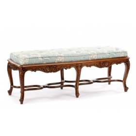 a fine louis XV style walnut carved bench - epoca antiques & 20th century san francisco