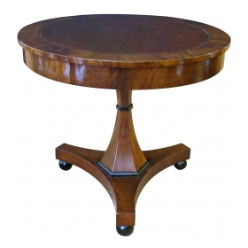 elegant and richly-patinated austrian biedermeier walnut center table with inset leather top