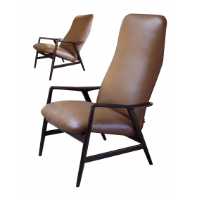 stylish danish modern Alf Svensson for Fritz Hansen 1960's stained teak 2-position reclining lounge chair