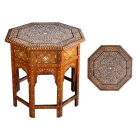 a finely inlaid anglo-indian octagonal traveling table