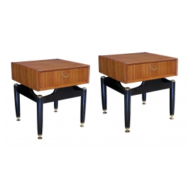 a cool pair of English mid-century G-Plan Tola Librenza single drawer teakwood end/bedside tables
