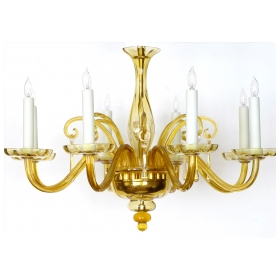 a richly-colored murano 1960's butterscotch-glass 6-light chandelier