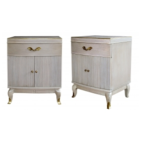 a stylish and solid pair of american mid-century cerused oak bowfront bedside cabinets by rway furniture company, wisconsin