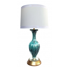 a luminous murano mid-century teal art glass silver aventurine lamp by barovier & toso