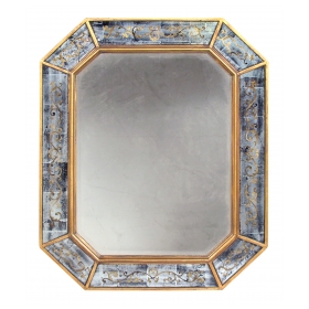 chic french maison jansen 1940's octagonal giltwood and églomisé mirror