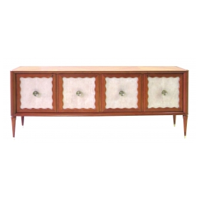 long and sleek italian paolo buffa mid-century cherrywood and parchment 4-door sideboard