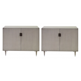 sleek pair of danish modern mid-century gray-washed birchwood 2-door console cabinets