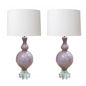 a large and good quality pair of murano archimides seguso mid-century amethyst baluster-form lamps with silver inclusions