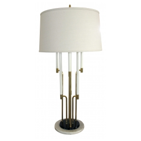 a chic american Tommi Parzinger 1950's 6-light brass table lamp with marble base