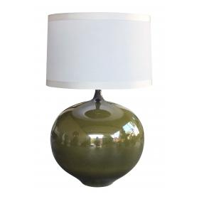 a impressive danish 1960's olive-green glazed orb-form lamp