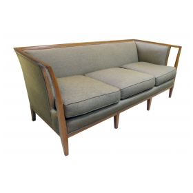 shapely american mid-century T.H. Robsjohn-Gibbings style sofa with flared openwork arms