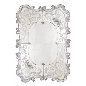 a stunning and shapely venetian rectangular-form etched mirror